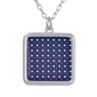 RED WHITE BLUE STARS PATTERN BACKGROUNDS WALLPAPER SQUARE PENDANT NECKLACE