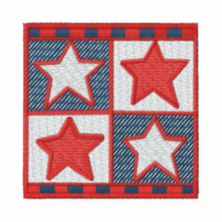 Red white blue stars quilt patch embroidery shirt