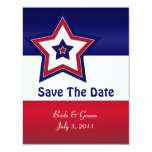 Red White & Blue Stars Save The Date Cards
