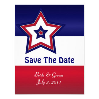 Red White Blue Stars Save The Date Cards Personalized Announcement