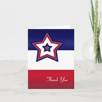 red white and blue thank you cards
