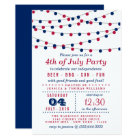 Red, White & Blue String Lights 4th Of July Party Card