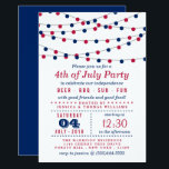 """Red, White &amp; Blue String Lights 4th Of July Party Card<br><div class=""""desc"""">Red,  White &amp; Blue Hanging String Lights 4th Of July Party Invitations.</div>"""