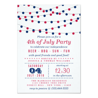 Red, White & Blue String Lights 4th Of July Party Card at Zazzle