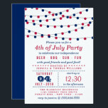 "Red, White &amp; Blue String Lights 4th Of July Party Invitation<br><div class=""desc"">Red,  White &amp; Blue Hanging String Lights 4th Of July Party Invitations.</div>"