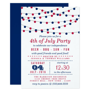 Red, White & Blue String Lights 4th Of July Party Invitation
