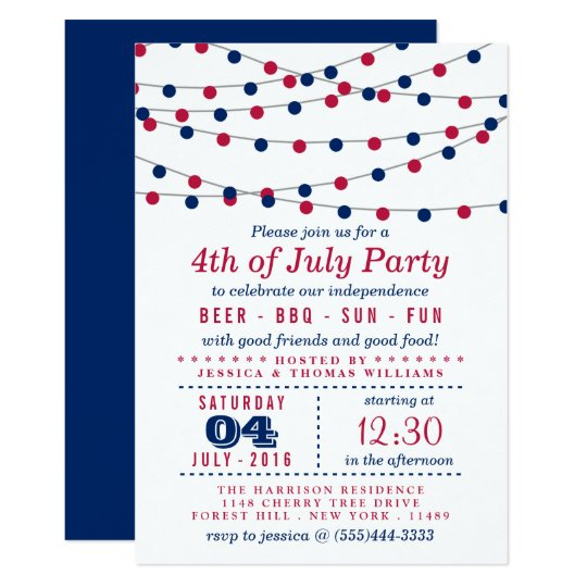 red white blue string lights 4th of july party invitation