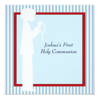 Red White Blue Stripe Rosary Boys First Communion Card