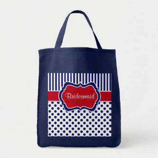 Red White Blue Striped Polka Dots Tote Bag