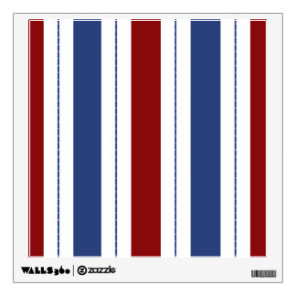 Red, White, Blue Striped Wall Decal