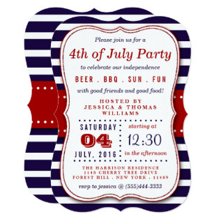 Red, White & Blue Stripes 4th Of July Party Card at Zazzle