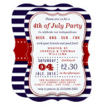 Red, White & Blue Stripes 4th Of July Party Invitation