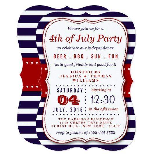 red white blue stripes 4th of july party invitation zazzle com