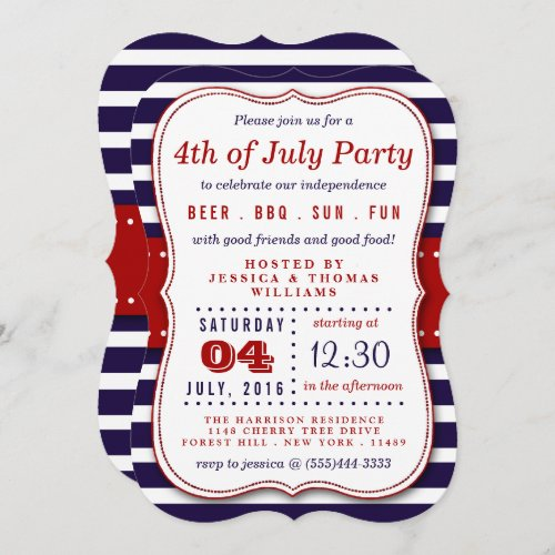 Red White  Blue Stripes 4th Of July Party Invitation