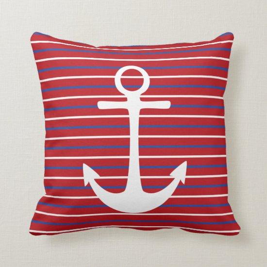 Red White Blue Stripes Anchor Throw Pillows