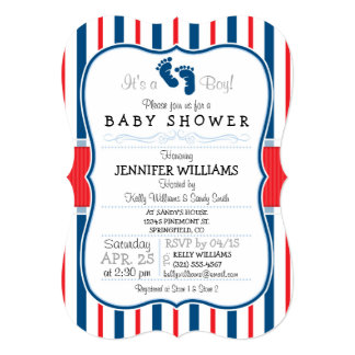 Red, White, & Blue Stripes Baby Shower Card