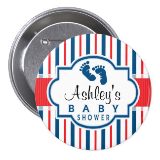 Red, White, & Blue Stripes Baby Shower Pinback Button