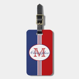 Red White Blue Stripes Monogram Luggage Tags