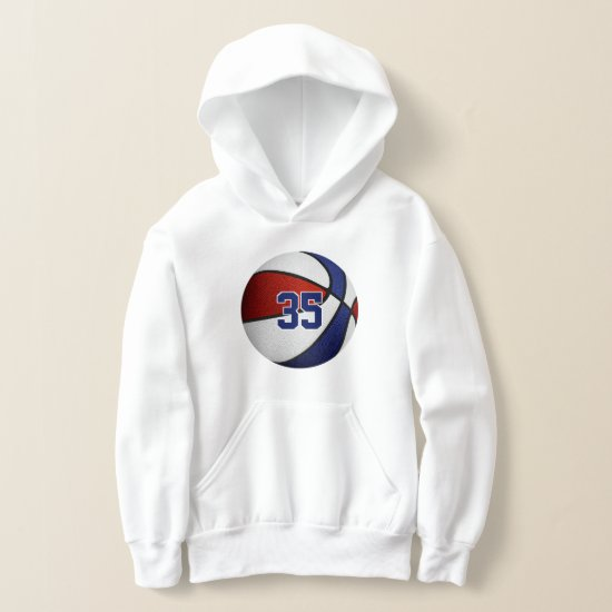 red white blue team colors basketball hoodie