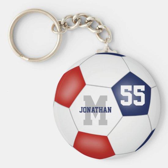red white blue team colors boys girls soccer ball keychain