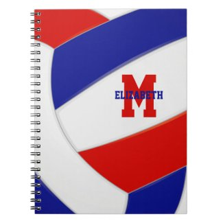 red white blue team colors girls boys volleyball notebook
