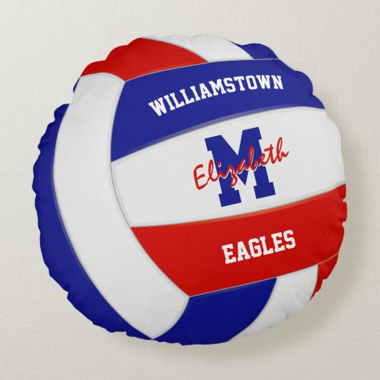 red white blue team colors girls volleyball round pillow