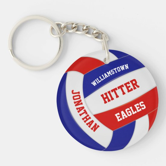 red white blue team colors personalized volleyball keychain