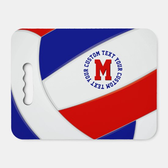 red white blue team colors personalized volleyball seat cushion