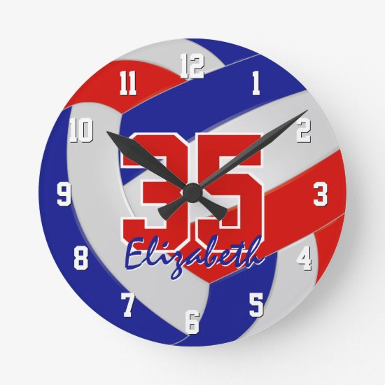 red white blue team colors players name volleyball round clock