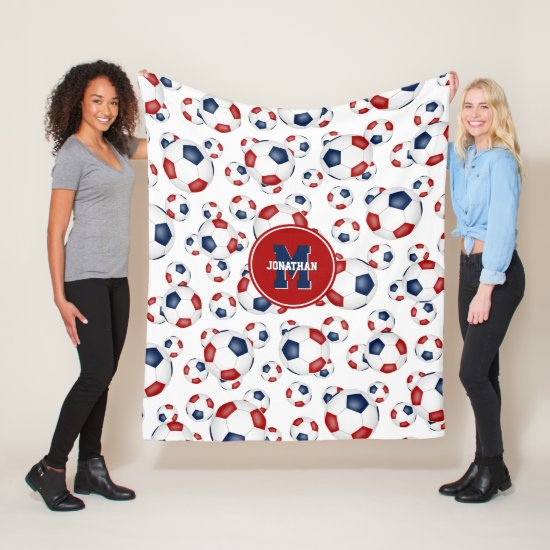 red white blue team colors soccer balls pattern fleece blanket