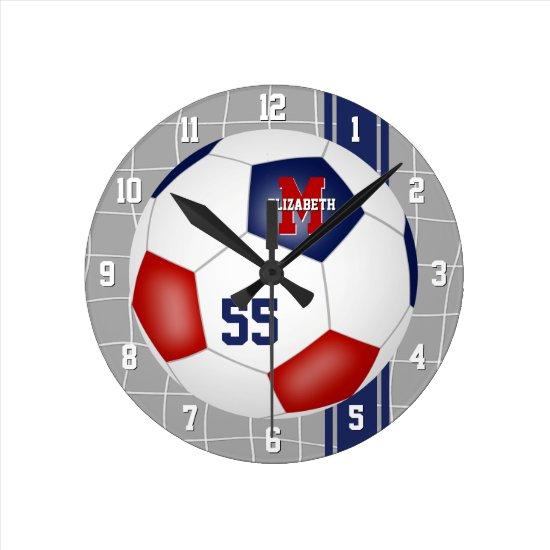 red white blue team colors varsity stripes soccer round clock