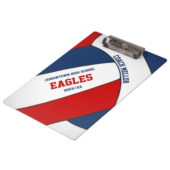 red white blue team colors volleyball coach clipboard