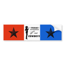 Red White & Blue Texas Cowgirls Love Real Cowboys Bumper Sticker