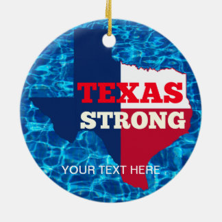 "Red, White & Blue ""Texas Strong"" Ceramic Ornament"