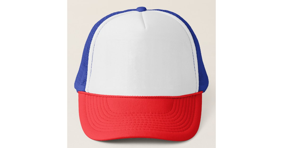 red baseball cap with white p blue trucker hat