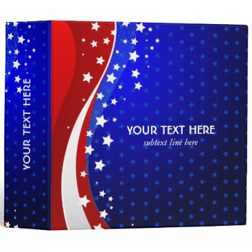USA Themed Red White & Blue - USA Flag Stars And Stripes 3 Ring Binder