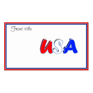 Red White & Blue USA Text Business Card