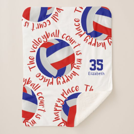 red white blue volleyball court happy place sherpa blanket
