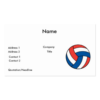 red white blue volleyball Double-Sided standard business cards (Pack of 100)