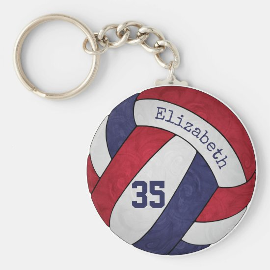red white blue volleyball keychain w name number
