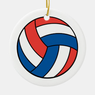 red white blue volleyball christmas tree ornament