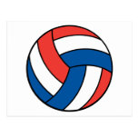 red white blue volleyball postcard