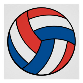 red white blue volleyball poster