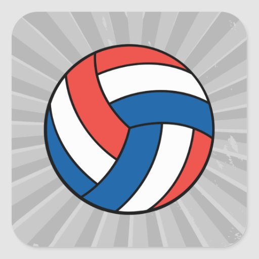 red white blue volleyball square sticker