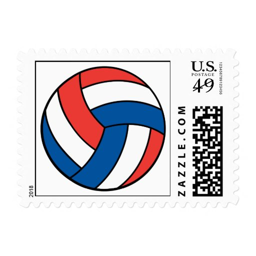 red white blue volleyball stamps