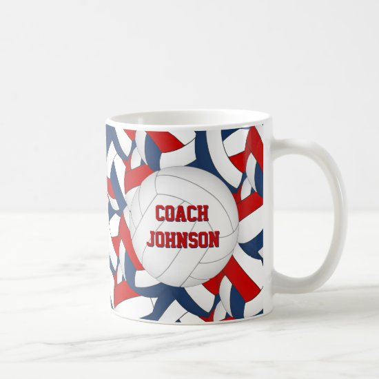 red white blue volleyball team colors coach gift coffee mug