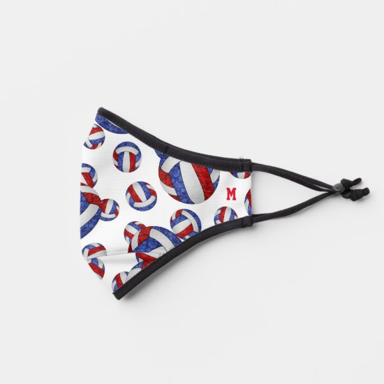 red white blue volleyballs sports pattern premium face mask