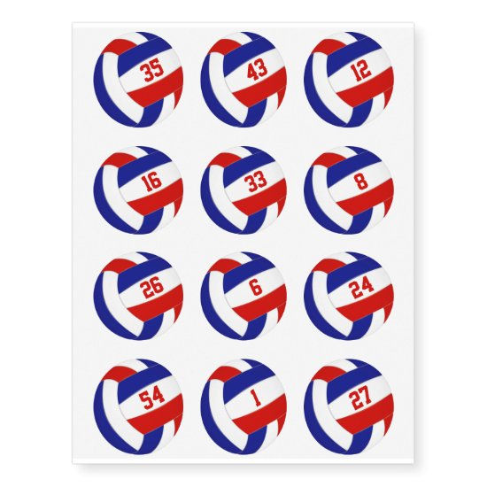 red white blue volleyballs w jersey numbers set 12 temporary tattoos