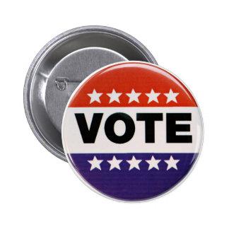 Red White & Blue Vote Design Pinback Button