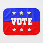 Red, White & Blue VOTE with Stars Baby Burp Cloths